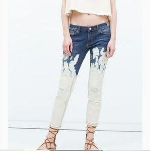 💕 NWOT Zara bleached wash cigarette jeans